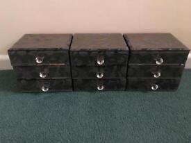 Mirrored jewellery boxes x3