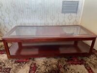 VINTAGE ANTIQUE GLASS MAHOGANY EFFECT COFFEE TABLE - UB1 COLLECTION ONLY