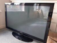 "Samsung 50"" TV, Sony Soundbar and Subwoofer, Sanyo DVD Player and TV Unit"