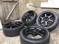 Black alloy wheels 17 inch multi stud of 4