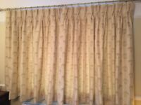 Rich cream circle embossed pair lined curtains, w 2m 40cm & drop 159cm, pole & hold backs optional