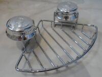 * Croydex Twist 'n Lock Chrome Sucker Corner Bathroom Wire Basket Shower Soap Dish Holder Storage *