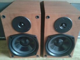 Pure Speakers 12M21 Bookshelf Speakers - 40W 8 ohms. Walnut finish. Removeable grills.