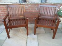 2 HARDWOOD GARDEN LOVE CHAIRS