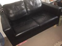 Two seater faux black sofa SALE £20 IF YOU CAN COLLECT TODAY