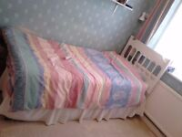 Single bed with storage, mattress and bedding