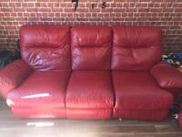 Dfs Nice red leather recliner set. Three seater sofa and electric armchair. DELIVERY