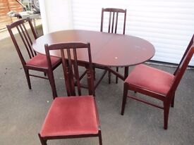 Gate leg Table & four chairs