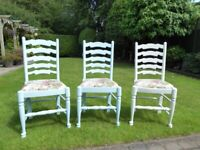 Solid wood painted shabby chic dining chairs