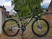 Men's mountain bike - Apollo FS26 S dual suspension 21-gear bike. 17inch frame, 26inch wheels.