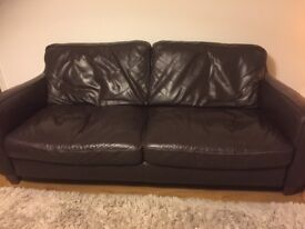 Italsofa Brown Leather 3 seater sofa (Barker and Stonehouse)