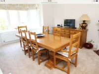Rustic Solid Oak Table and 8 Chairs