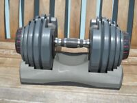 Bowflex Adjustable Single (not a pair) dumbbell with spare cradle and 4 spare weights