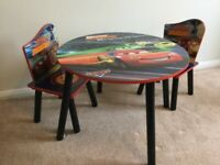 Child's Disney Pixar Cars wooden table and chair set
