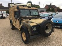 Land Rover Defender Snatch 2A. Rebuilt under MOD contract in 2005.