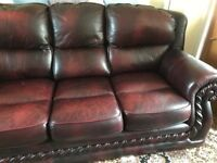 Ox blood red leather 3 piece suite