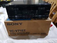 Sony TC-V715T Double Cassette Tape Deck + Original Box