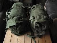 army surplus canvas panniers, retro kit bags