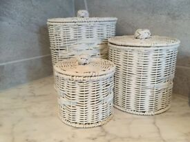 Rattan cylindrical bathroom storage baskets (set of 3)