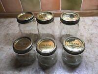 Kilner preserving jars.