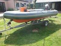 Avon searider 4m RIB with 50hp Mercury outboard, road trailer