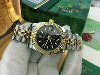 LADIES Rolex Datejust Black Dial Two tone