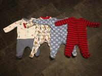 4x sleep suits 0-3months baby boy clothes