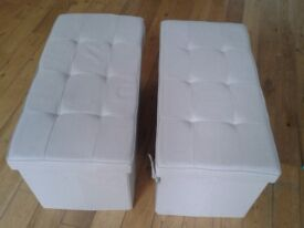 2 matching ottomans, providing seating & storage, neutral beige/oatmeal colour, excellent condition