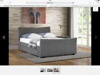King size grey fabric bed and mattress