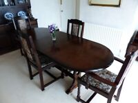 Dark Oak Dining Table and Chairs