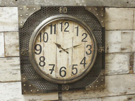 Wall Mounted Bronzed Metal Styled Wooden Clock