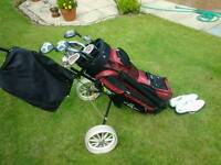 Golf set, accessories , trolley and brand new hi-tech shoes all in excellent condition