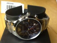 EMPORIO ARMANI AR2448 STAINLESS STEEL MENS CHRONOGRAPH WATCH 100% GENUINE 2 YEAR WARRANTY