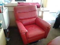 Leather swivel chair excellent condition as new now £240