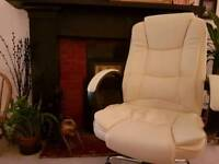 Cream leather computer chair