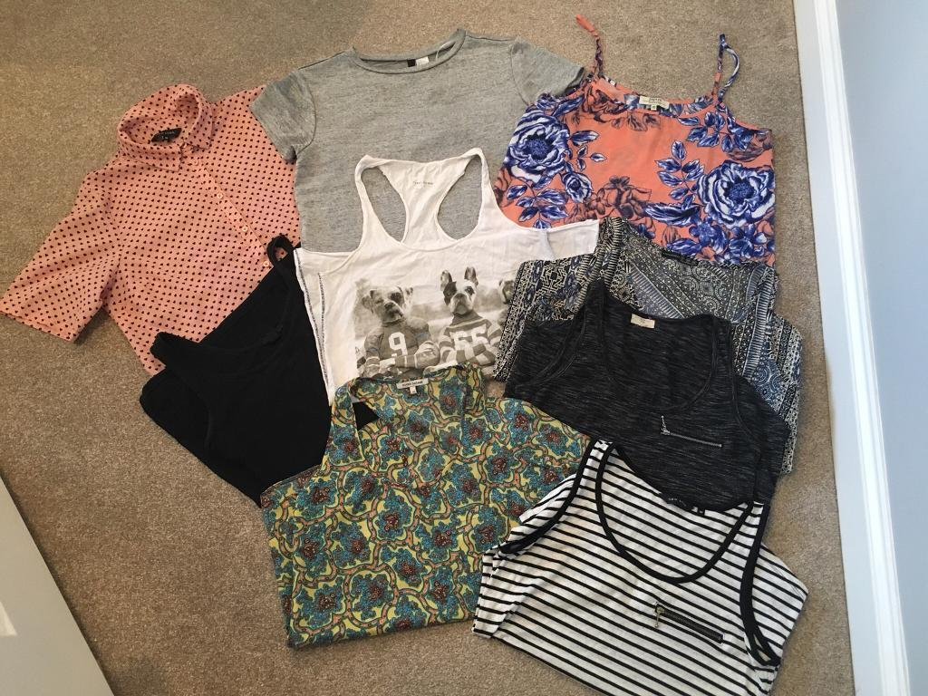 Women's clothes bundle of summer tops t-shirts size 8-10