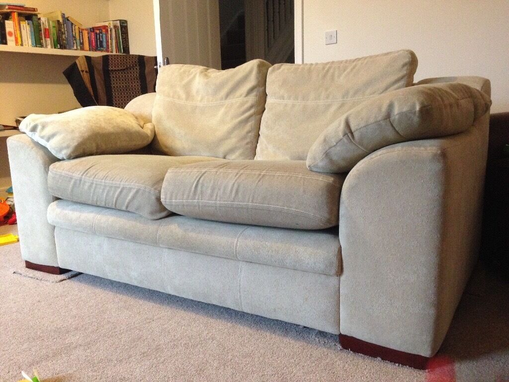 Two seater cream fabric sofa in canton cardiff gumtree Cream fabric sofa