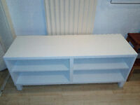 White shelved cabinet, computer or TV table with cable exit flap £10