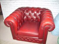 for sale red ox blood leather chesterfield tub chair very good condition £200 ono