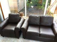 IKEA faux leather 2 seat settee and chair - FREE. Gotta go. Collect only.
