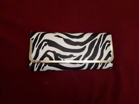 Black & white zebra print clutch purse