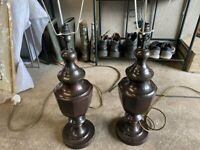 Pair of Bronze Metal lamps, Plus shades. Please see the photographs. Very good condition.