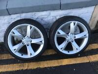"2xGenuine Audi A5 A6 Y Spoke 19""Alloy Wheels With ""Tyres"""