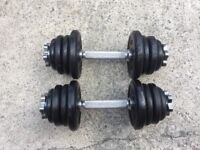 SET OF SOLID BAR DUMBELLS WITH 18KG OF CAST IRON WEIGHTS