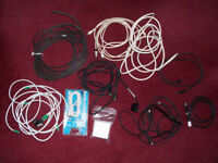 Joblot of cables for TV, ariels, phone and more. A bargain at £1 the bagful
