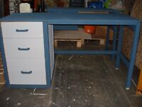 desk painted farrow and ball hague blue top 53 inches lengh 21 inches wide
