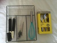16-piece cutlery set, cutlery holder, can openers & whisk
