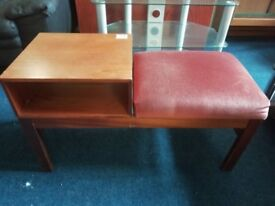 telephone stand/ unit with cushioned seat