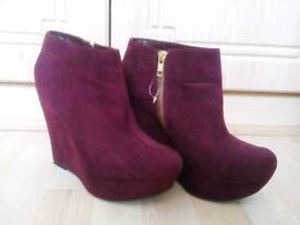 Wedge shoe boots