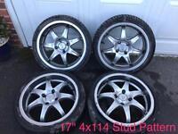 "17"" 4x 114 Stud Deep Dish Wolf Race Alloy Wheels"